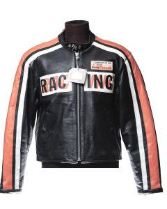 Veste en cuir JKWork noir avec bandes orange et blanches