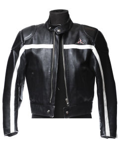 Jacket in black SBJ leather with white band