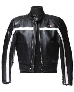 Veste en cuir SBJ noir avec bande blanche