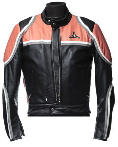 Black SBJ leather jacket with orange shoulders