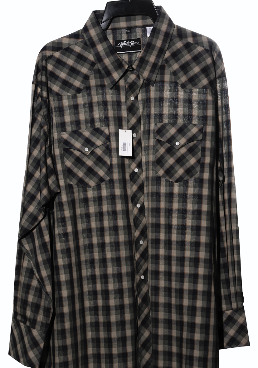 newest 463d4 ee457 Camicia western by white horse verde militare | Camicia WH06
