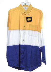 Chemise western par cow-boy fou en blocs blancs, jaunes et bleus