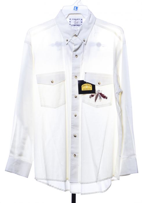 Camicia western by crazy cowboy bianca con logo indiano