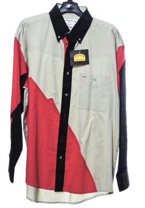 Chemise western par cow-boy fou en blocs rouges et beiges