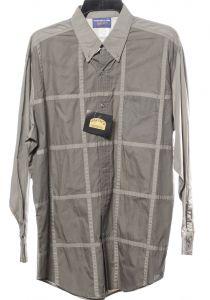 Slim gray checkered large panhandle western shirt