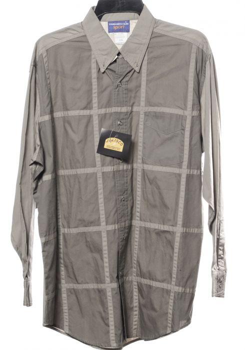 Chemise western large et fine à carreaux gris