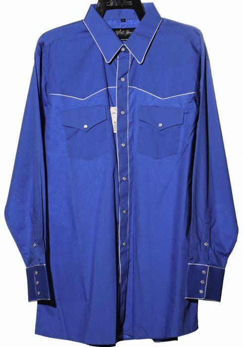 Chemise de cheval blanc bleu clair avec broderie blanche