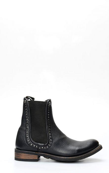 Liberty Black biker boot with black elastic