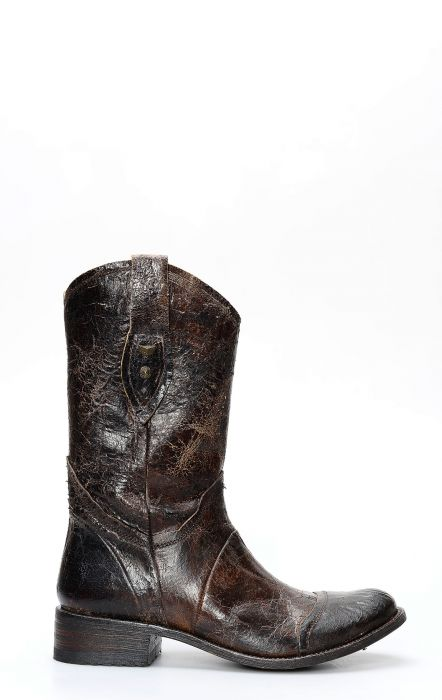 Sendra boots in brown aged leather in biker style