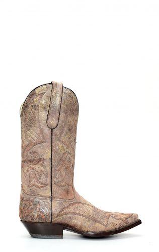 Stivali Jalisco stile texano in pelle invecchiata con ricamo