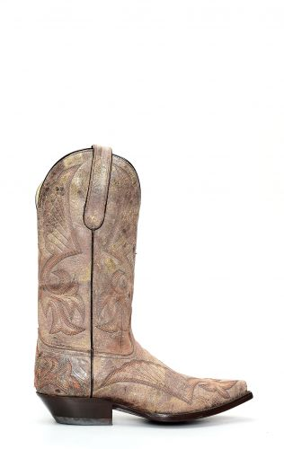 Texan style Jalisco boots in aged leather with embroidery