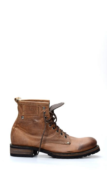 Ankle boot with brown Liberty Black laces and rubber sole