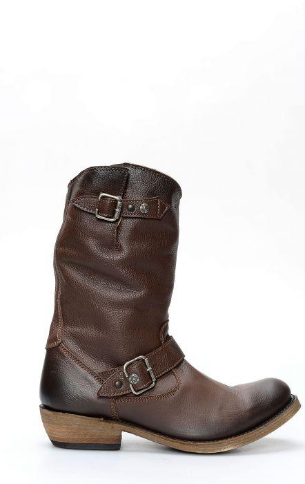 Liberty Black biker boots dark brown and round toe