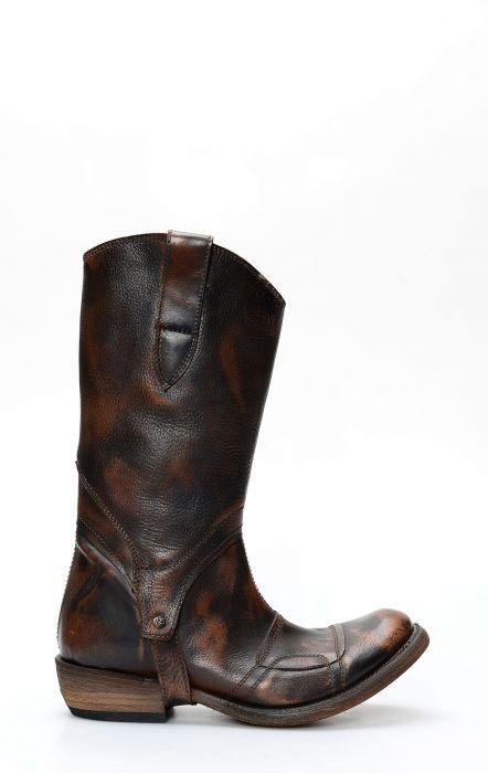 Biker boots Liberty Black dark brown and straps